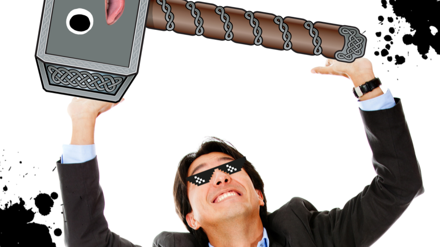 A smartly-dressed man lifting Thor's hammer