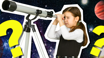 Girl looking through telescope