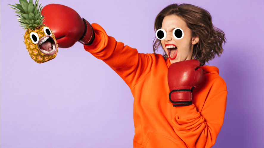 Woman boxing on purple background