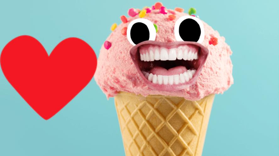Ice cream on blue background