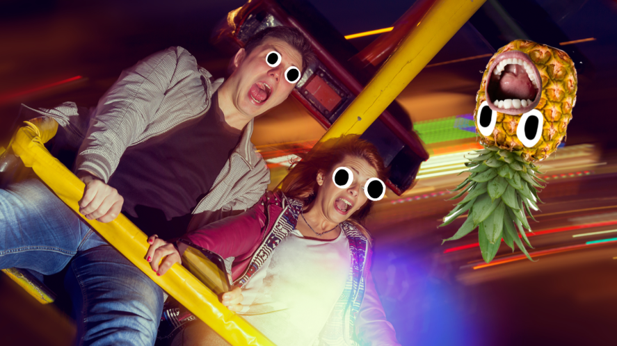 Two people on theme park ride