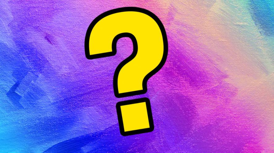 A colourful background with a big yellow question mark in the centre
