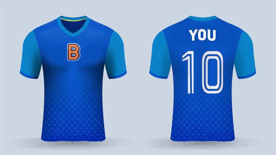 A blue Beano-themed football shirt