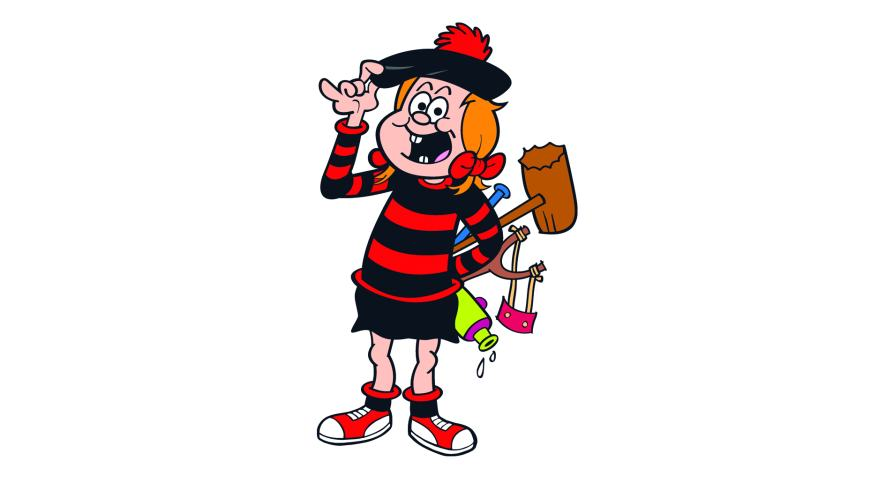 Minnie the Minx with a catapult