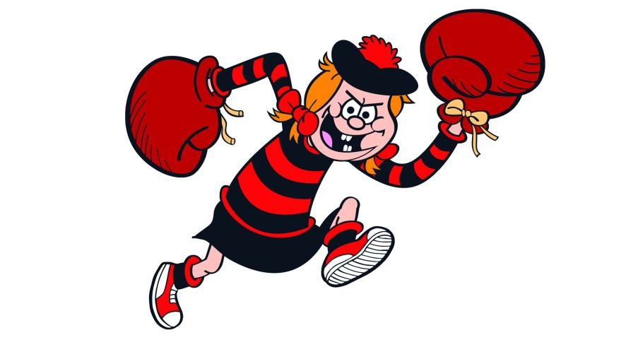Minnie the Minx with giant boxing gloves