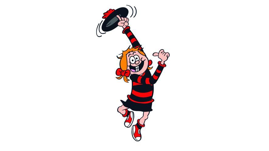 Minnie the Minx throwing her hat