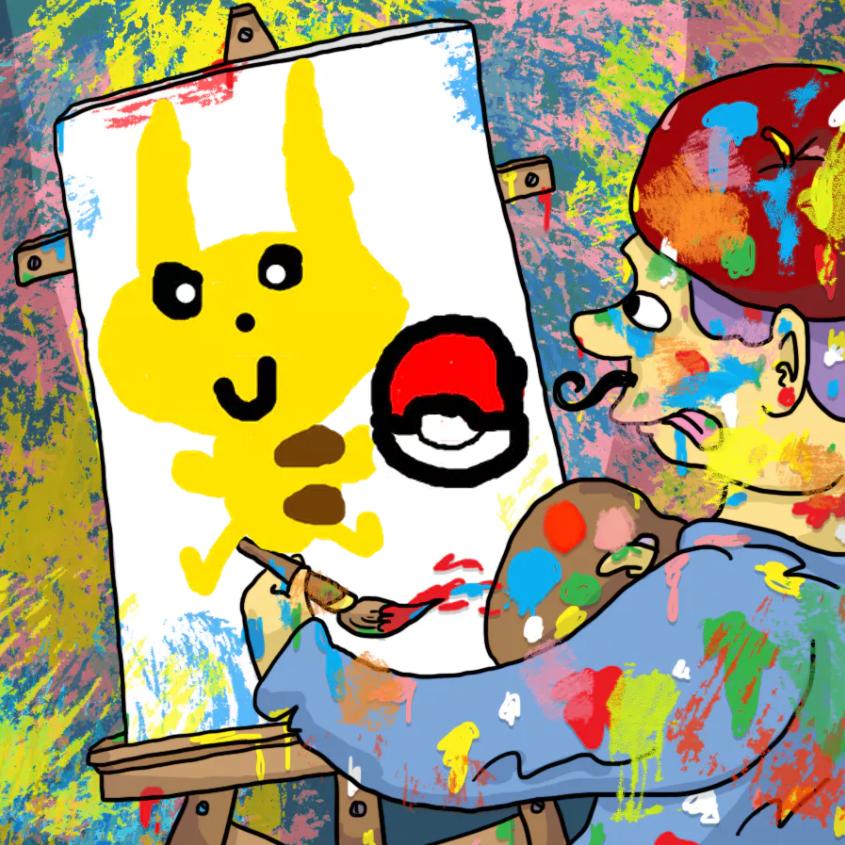 Artist painting Pikachu and a Pokeball