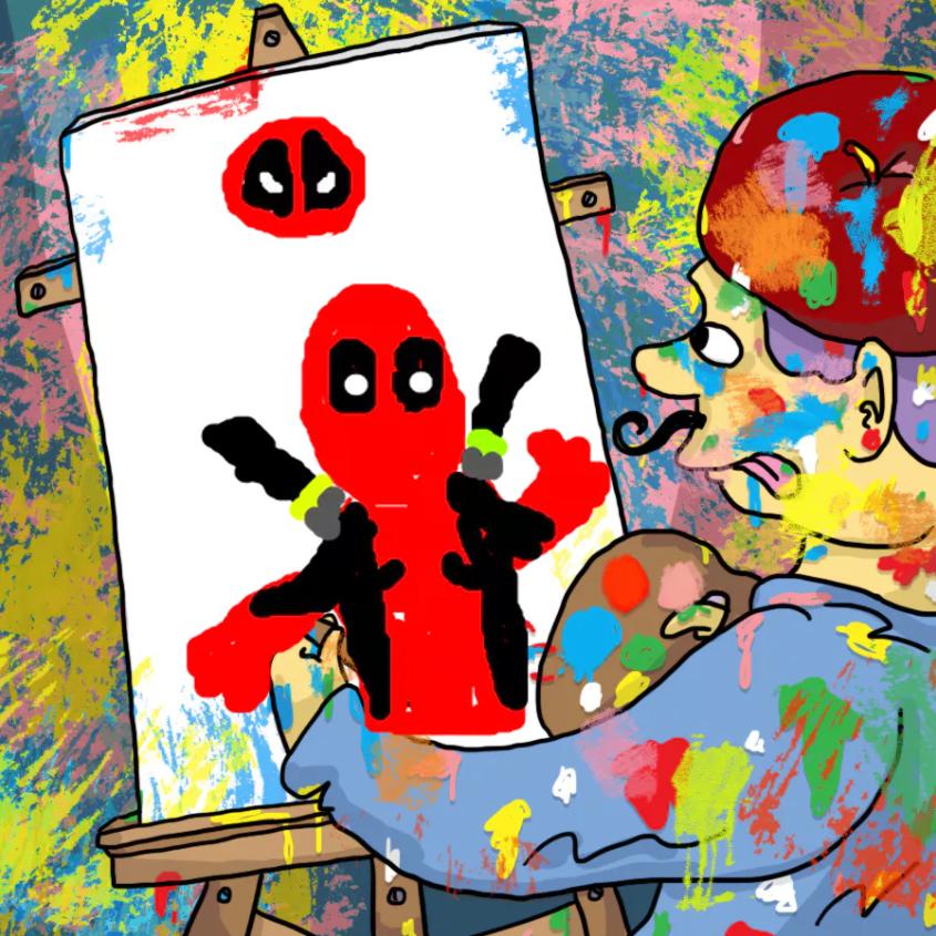 Artist painting Deadpool
